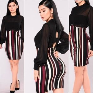 Fashion Nova black sheer striped open Back